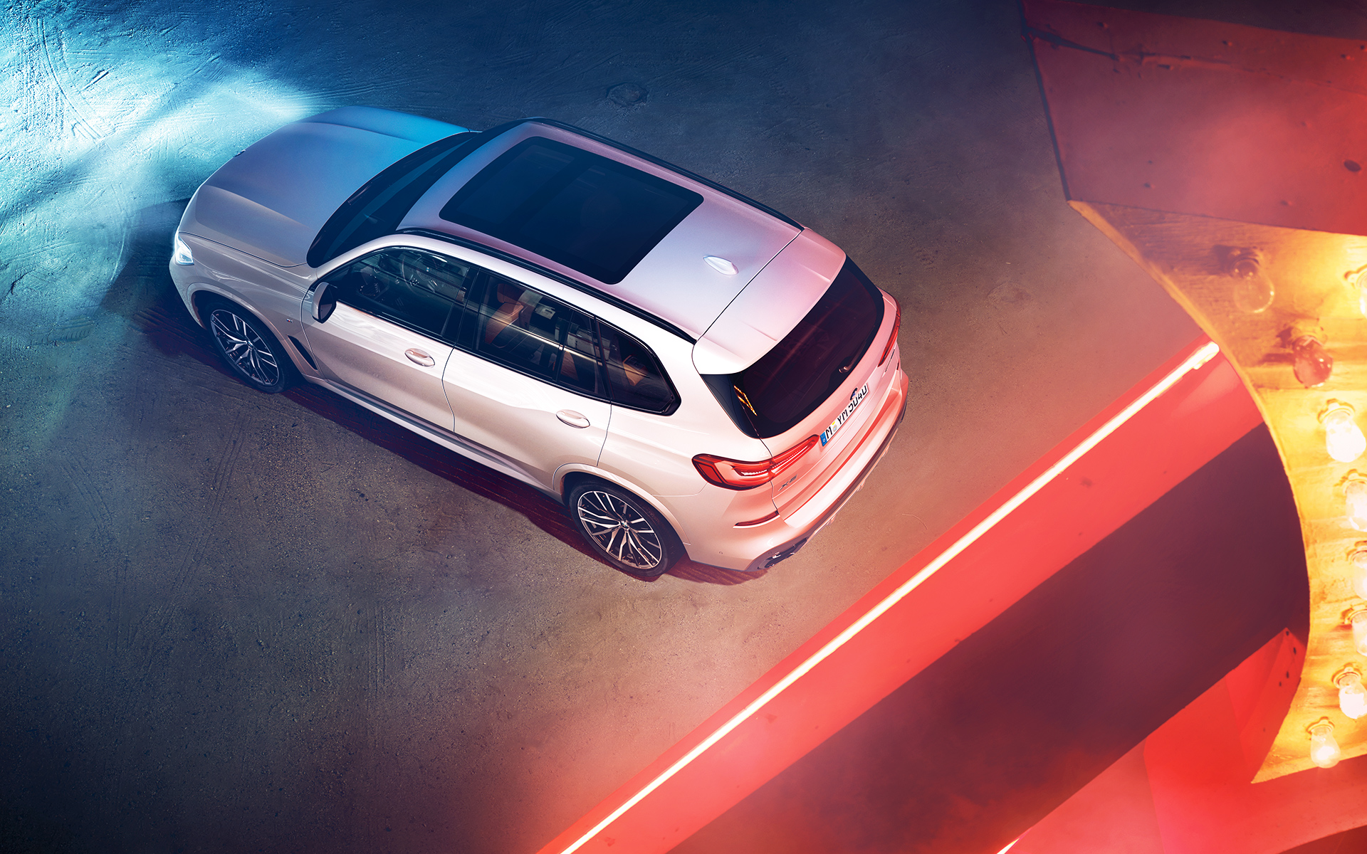 Night-time shot of the BMW X5 from above
