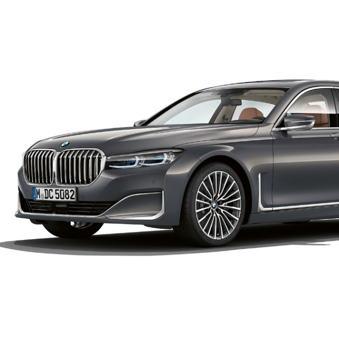 Grey BMW 7 Series Sedan with Exterior Design Pure Excellence in three-quarter front view